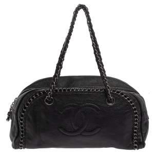Chanel Black Leather Medium Luxe Ligne Bowler Bag