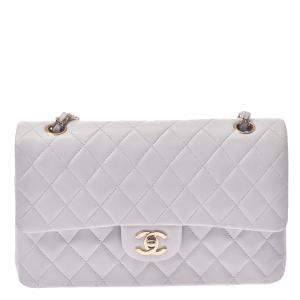 Chanel White Leather Classic Double Small Flap Bag