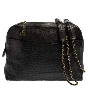 Chanel Black Ostrich Vintage Chain Bag