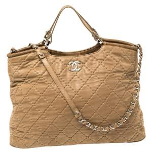 Chanel Beige Quilted Shimmer Nubuck Leather Sea Hit Tote