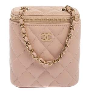 Chanel Pink Quilted Caviar Leather Small Classic Box with Chain