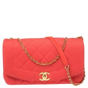 Chanel Red Quilted Jersey Diana Flap Bag