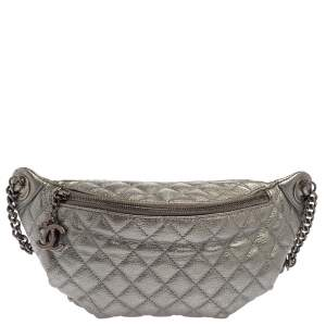 Chanel Metallic Grey Quilted Leather Banane Waist Bag