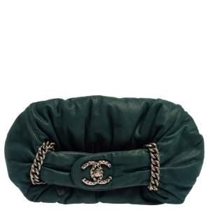 Chanel Dark Green Leather Midnight Stones Clutch