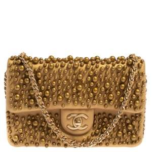 Chanel Gold Leather Pearl Wallet on Chain