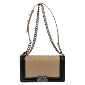 Chanel Beige/Black Quilted Leather Medium Boy Flap Bag