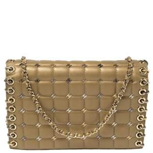 Chanel Gold Quilted Leather Small CC Studded Piercing Chain Flap Bag