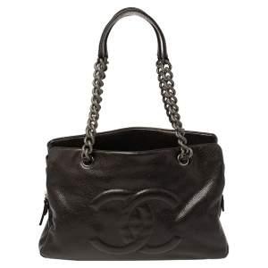 Chanel Dark Brown Caviar Leather CC Chain Tote