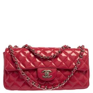 Chanel Pink Quilted Patent Leather Classic East West Flap Bag