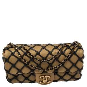 Chanel Gold/Black Leather Medium Canebiers Net Flap Bag