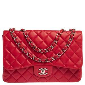 Chanel Fuchsia Quilted Leather Jumbo Classic Single Flap Bag