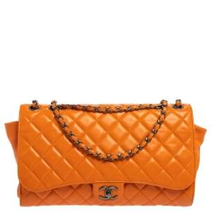 Chanel Orange Leather Grocery By Chanel Drawstring Flap Bag