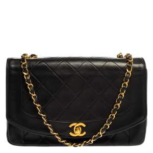 Chanel Black Quilted Leather Diana Flap Bag