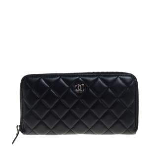 Chanel Black Quilted Leather CC Zip Around Wallet