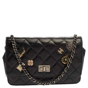 Chnael Black Aged Quilted Leather Lucky Charms 2.55 Reissue Wallet on Chain