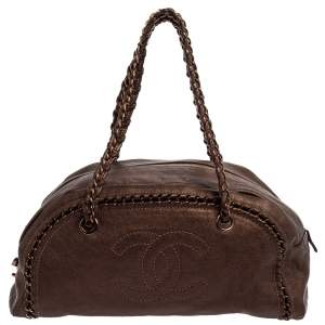 Chanel Metallic Brown Leather Medium Luxe Ligne Bowler Bag