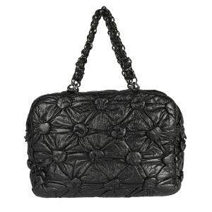 Chanel Black Draped Lambskin Lemarie Bowler Bag