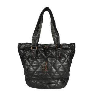 Chanel Black Quilted Lambskin Leather Drawstring Shoulder Bag