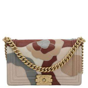 Chanel Multicolor Lambskin Leather Limited Edition Patchwork Camelia Boy Bag