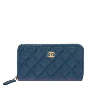 Chanel Metallic Blue Caviar Leather Medium CC Zip Around Wallet