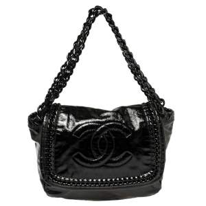 Chanel Black Patent Leather Luxe Ligne Accordion Flap Bag
