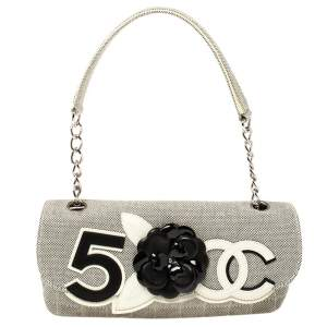 Chanel Grey Quilted Canvas No 5 Camellia Flap Shoulder Bag