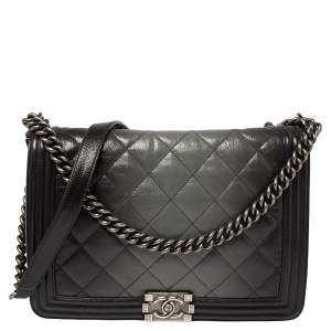 Chanel Grey Ombre Quilted Leather Large Boy Flap Bag