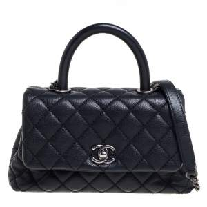 Chanel Black Caviar Leather Mini Coco Top Handle Bag