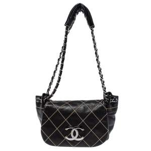 Chanel Black Stitch Quilted Leather Surpique Accordion Flap Bag