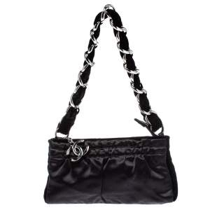 Chanel Black Satin and Velvet Chain Clutch Bag