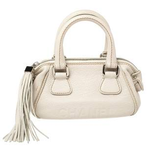 Chanel White Leather LAX Tassel Bag