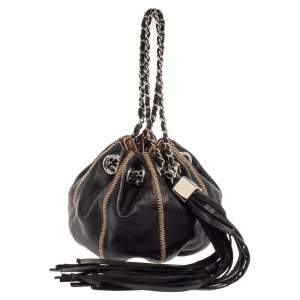 Chanel Black/Peach Leather Reversible Drawstring Tassel Bag