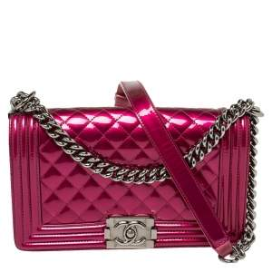 Chanel Dark Pink Quilted Patent and Leather Medium Boy Flap Bag