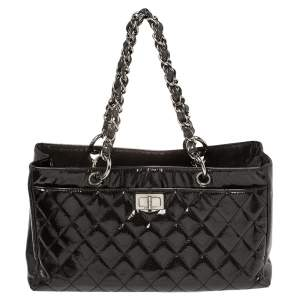 Chanel Dark Grey Quilted Patent Caviar Leather Reissue Tote