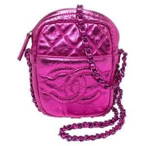 Chanel Metallic Pink Crinkled Leather Small Modern Chain Camera Bag