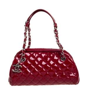 Chanel Red Quilted Patent Leather Small Just Mademoiselle Bowler Bag