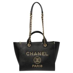 Chanel Black Caviar Leather Small Studded Deauville Tote