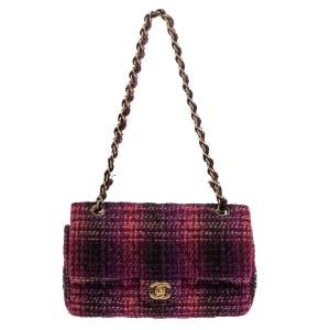 Chanel Multicolor Tweed Medium Double Flap Bag