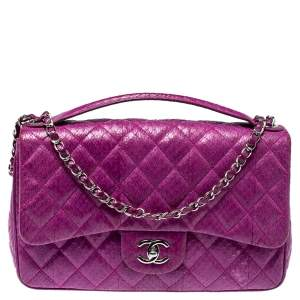 Chanel Purple Snakeskin Jumbo Easy Carry Flap Bag