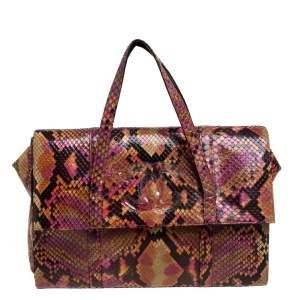 حقيبة شانيل فينتدج سي سي جلد ثعبان متعدد الألوان بقلاب