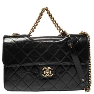 Chanel Black Quilted Leather Large Perfect Edge Flap Bag