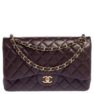 Chanel Purple Quilted Leather Jumbo Classic Double Flap Bag