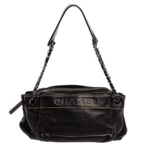 Chanel Black Leather LAX Accordion Shoulder Bag
