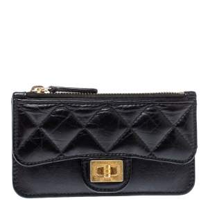 Chanel Black Quilted Leather Reissue 2.55 Zip Flap Card Holder