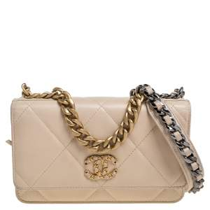 Chanel Beige Quilted Leather Chanel 19 Wallet on Chain