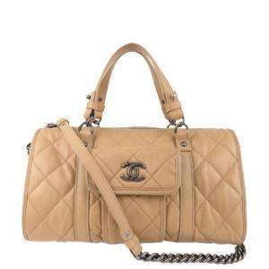 Chanel Beige Quilted Leather Bowling Bag