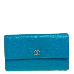 Chanel Turquoise Camellia Embossed Leather Wallet