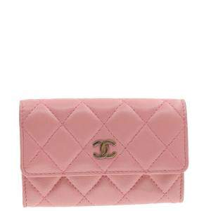 Chanel Pink Lambskin Quilted Card Case