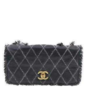 Chanel Black Lambskin Tweed Trim Double Chain Shoulder Bag