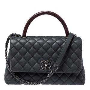 Chanel Grey/Burgundy Caviar Leather and Lizard Medium Coco Top Handle Bag